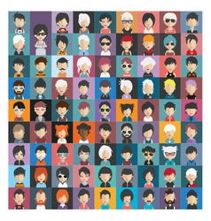 Set of people icons in flat style with faces 19 b vector image