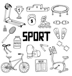 Set of sports line art vector