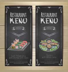 Set restaurant menu chalk drawing banners vector