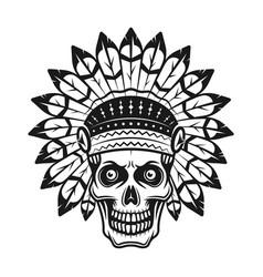 skull in indian headdress in vector image