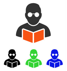 Student reading book flat icon vector