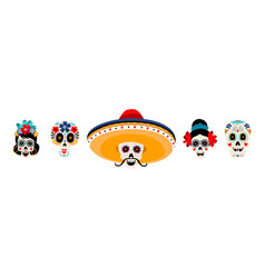 sugar mexican skulls flat set vector image
