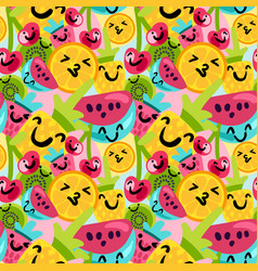 summer fruits pattern in cartoon style vector image