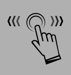 Swipe up hand sign in a linear style finger vector