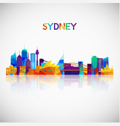 sydney skyline silhouette in colorful geometric vector image