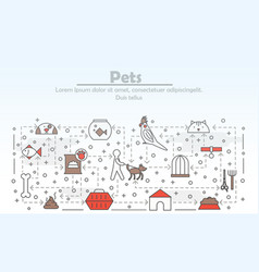 Thin line art pets poster banner template vector