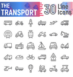 transport line icon set vehicle symbols vector image