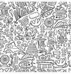 travel to singapore seamless pattern for your vector image