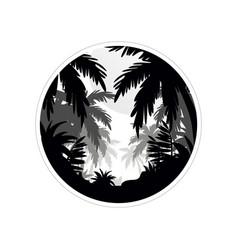 Tropical scenery with palm trees monochrome vector