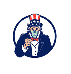 Uncle sam wearing mask pointing mascot vector