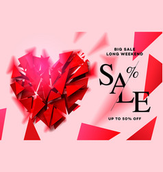 valentines day sale background with polygonal vector image