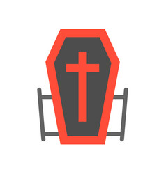 vampire coffin halloween related icon flat design vector image