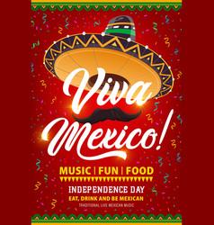 viva mexico flyer with mexican symbols vector image