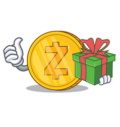 with gift zcash coin character cartoon vector image