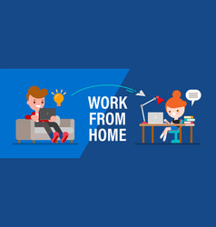 Work from home young people man and woman vector