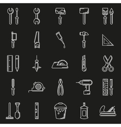 Working tools icon set on black background vector image