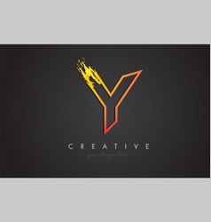 y letter design with golden outline and grunge vector image
