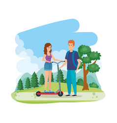 Young couple in folding scooter on landscape vector