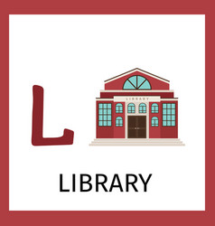 alphabet card with library building vector image