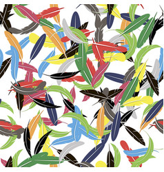 colorful seamless random feather pattern vector image vector image