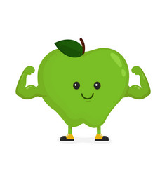 cute happy strong smiling apple vector image vector image
