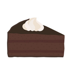 chocolate cake with whipped cream in flat style vector image