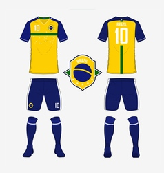 Soccer kit football jersey template for brazil vector