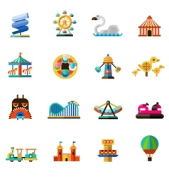 Amusement Park Icons vector image vector image