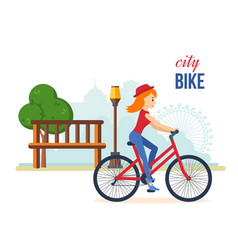 girl in summer clothes riding bike for park vector image