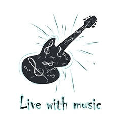 grunge label with guitar vector image vector image