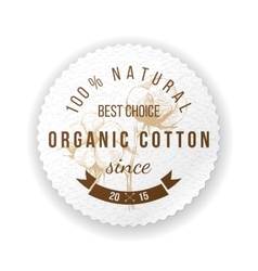 Organic cotton label vector image vector image