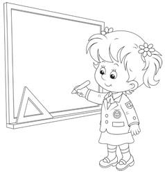 Schoolgirl writes on the blackboard vector image