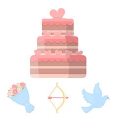 arrow cupid dove bouquet of flowers wedding vector image vector image