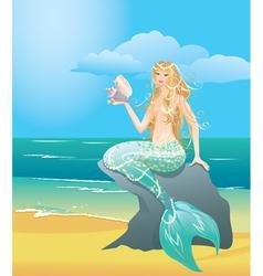 Beautiful mermaid girl with sea shell vector image
