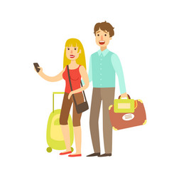 young couple with travel bags traveling colorful vector image vector image