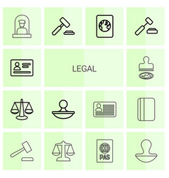 14 legal icons vector