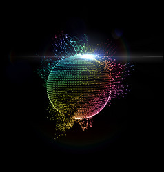 3d illuminated distorted sphere iridescent glowing vector