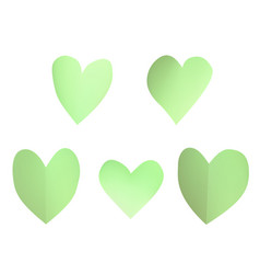a set of green paper hearts vector image