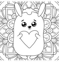 adult coloring bookpage a kawaii rabbit vector image