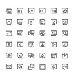 applications and programming icon set in outline vector image