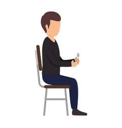 avatar man sitting on chair vector image