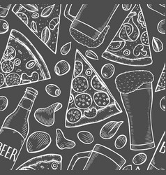 background of beer and pizza vector image