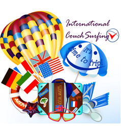 background with air balloon and suitcase vacation vector image