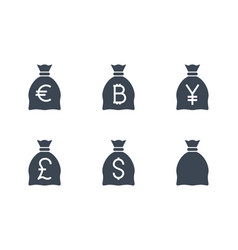 bags with money related glyph icon vector image