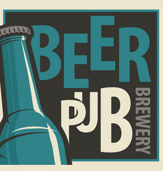 banner for beer pub and brewery with bottle vector image