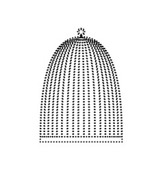 Bird cage sign black dotted icon on white vector