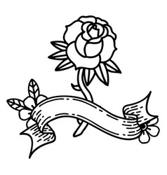 Black linework tattoo with banner a rose vector