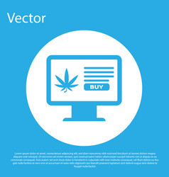 blue computer monitor and medical marijuana or vector image
