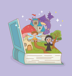 Book open with fairytale dragon in castle and vector