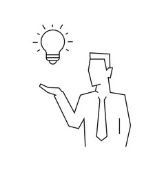 businessman has an idea portrait view linear vector image